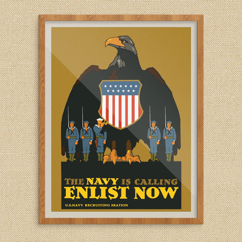 The Navy is Calling Enlist Now WWI Recruitment Poster Print