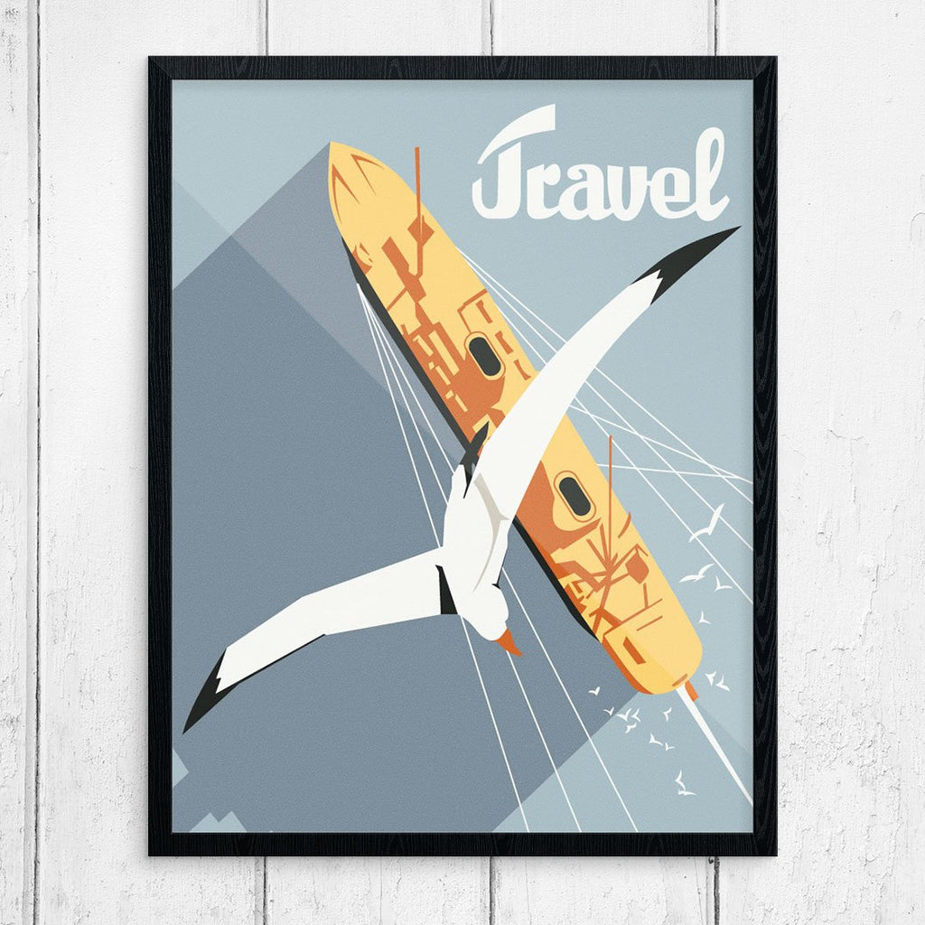 Travel Seagul & Cruise Ship Aerial View Print