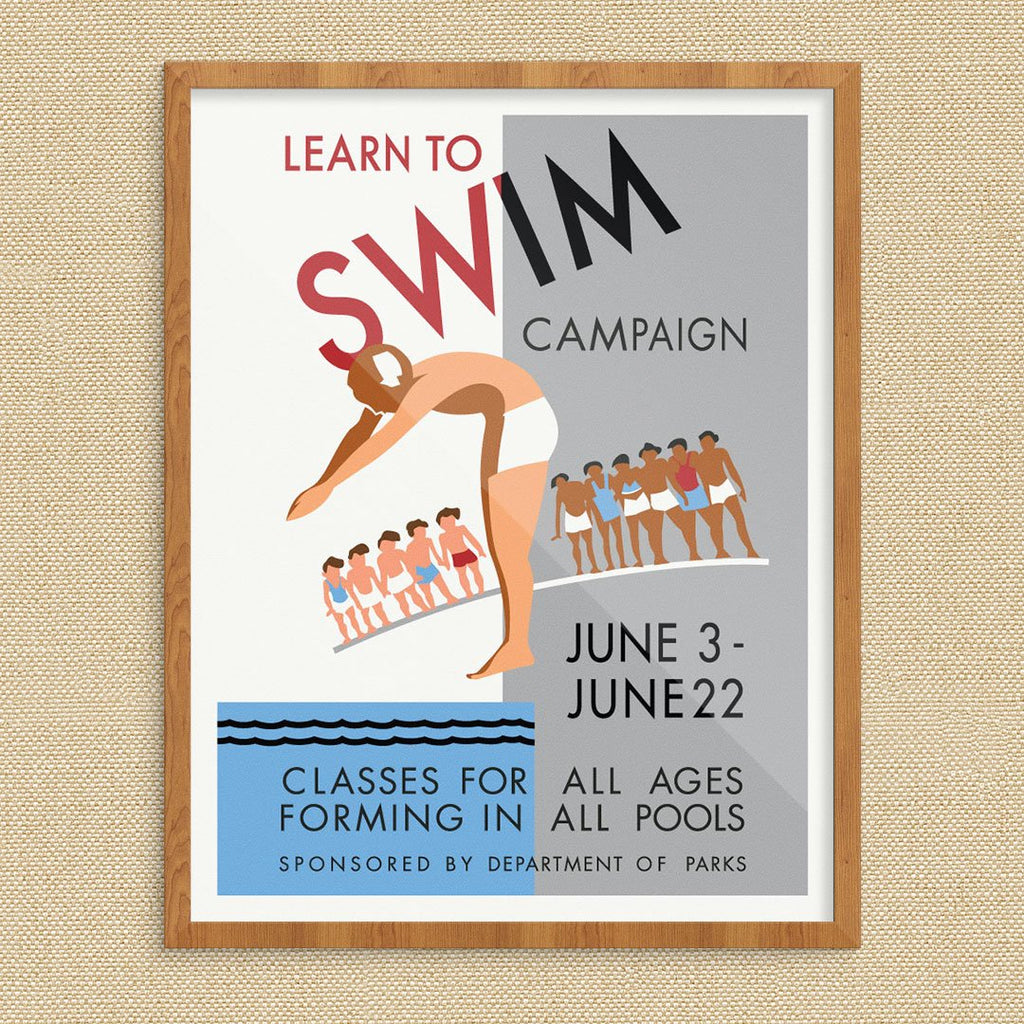 Learn to Swim WPA Poster Print