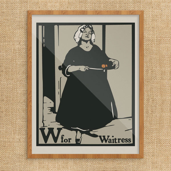 W is for Waitress William Nicholson Print