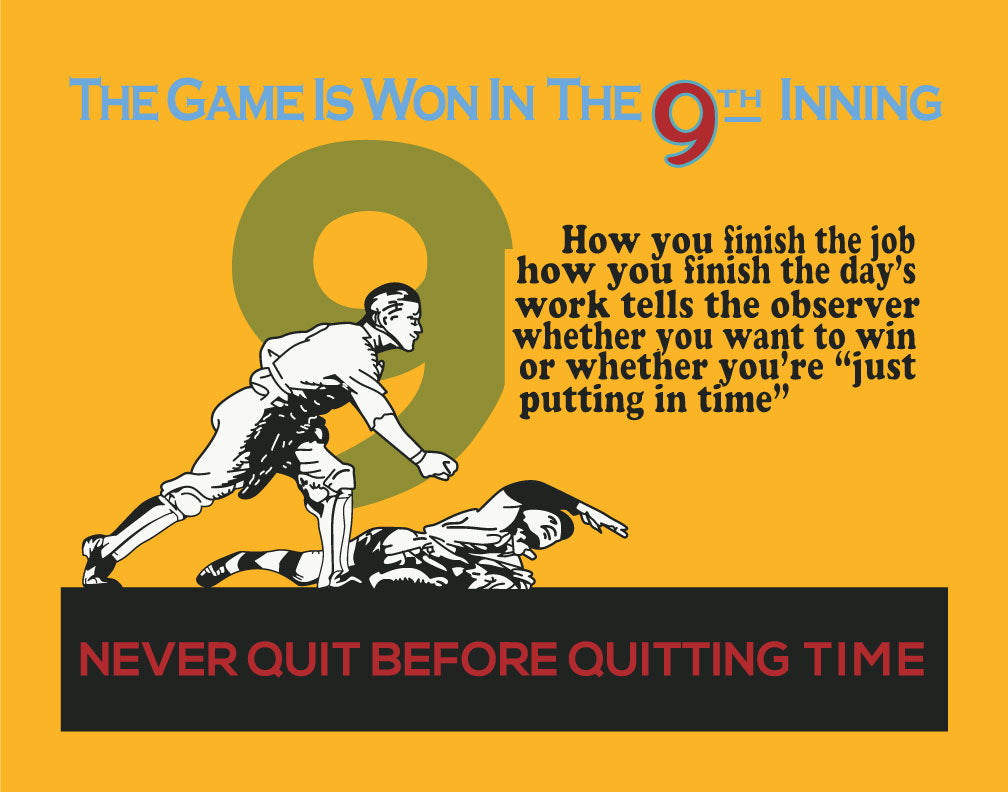 Mather & Co The Game is Won in the 9th Inning Workplace Motivational Poster magnet & print