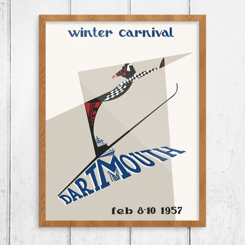 Dartmouth Winter Carnival 1957 Abstract Skier Print