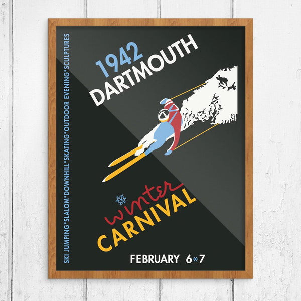 Dartmouth Winter Carnival 1942 Skier on Black Print