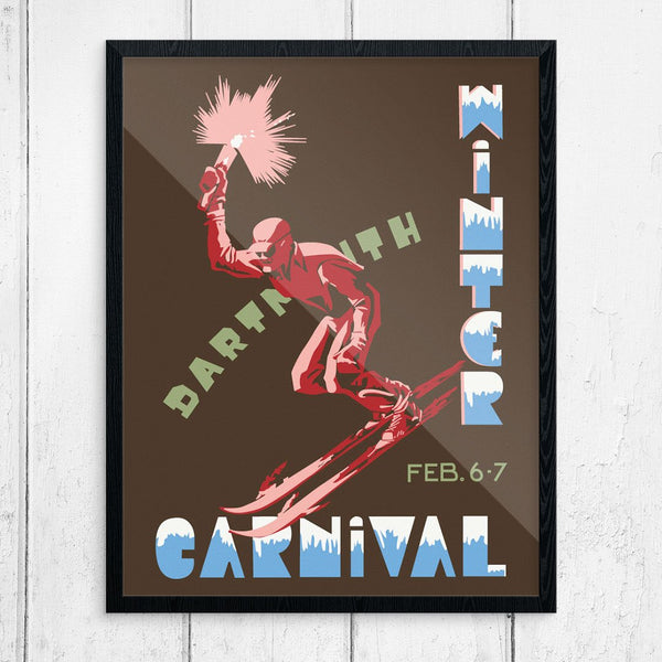 Dartmouth Winter Carnival 1953 Torch Skier Print