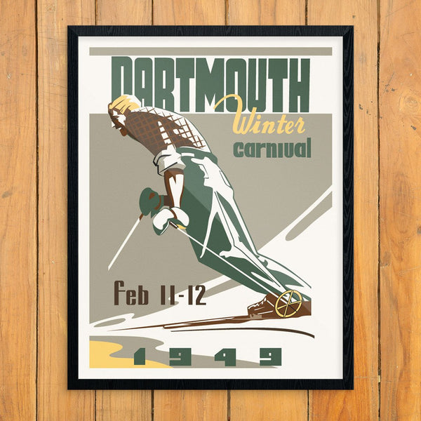 Dartmouth Winter Carnival 1949 Leaning Skier Print