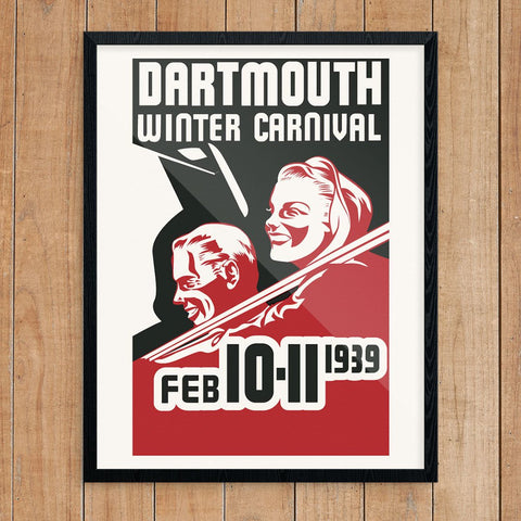 Dartmouth Winter Carnival 1939 Ski Couple Print
