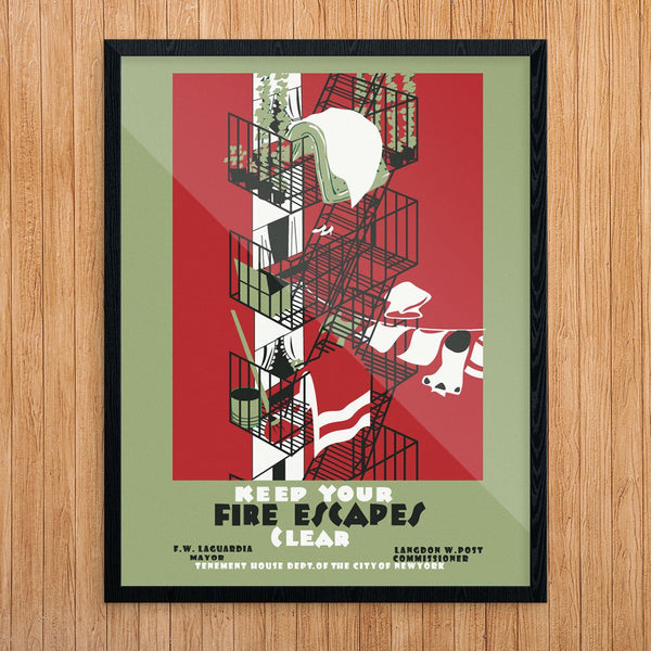 Keep Your Fire Escapes NYC WPA Era Print