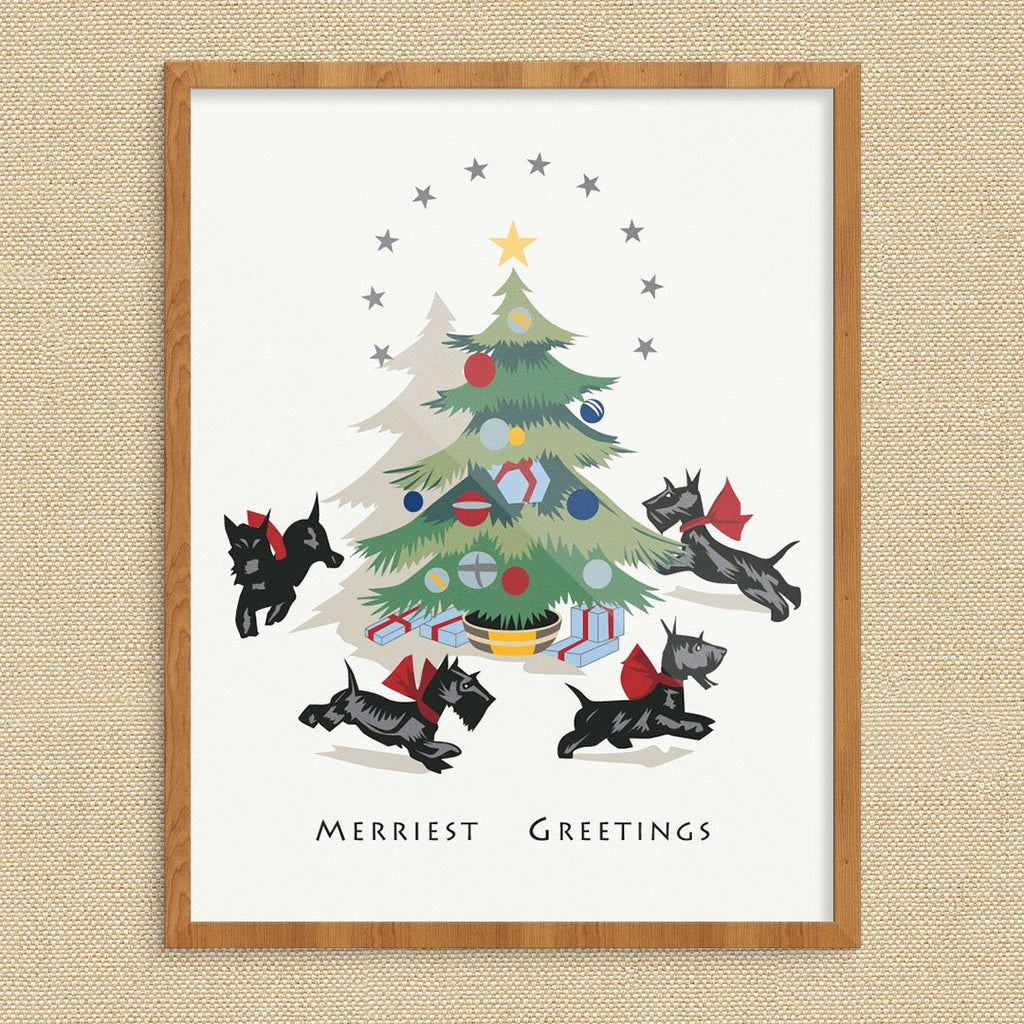 Merriest Christmas Greetings from Running Scotties Print