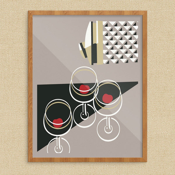Cocktail Shaker and Martini Glasses Vintage Style Cocktail Print