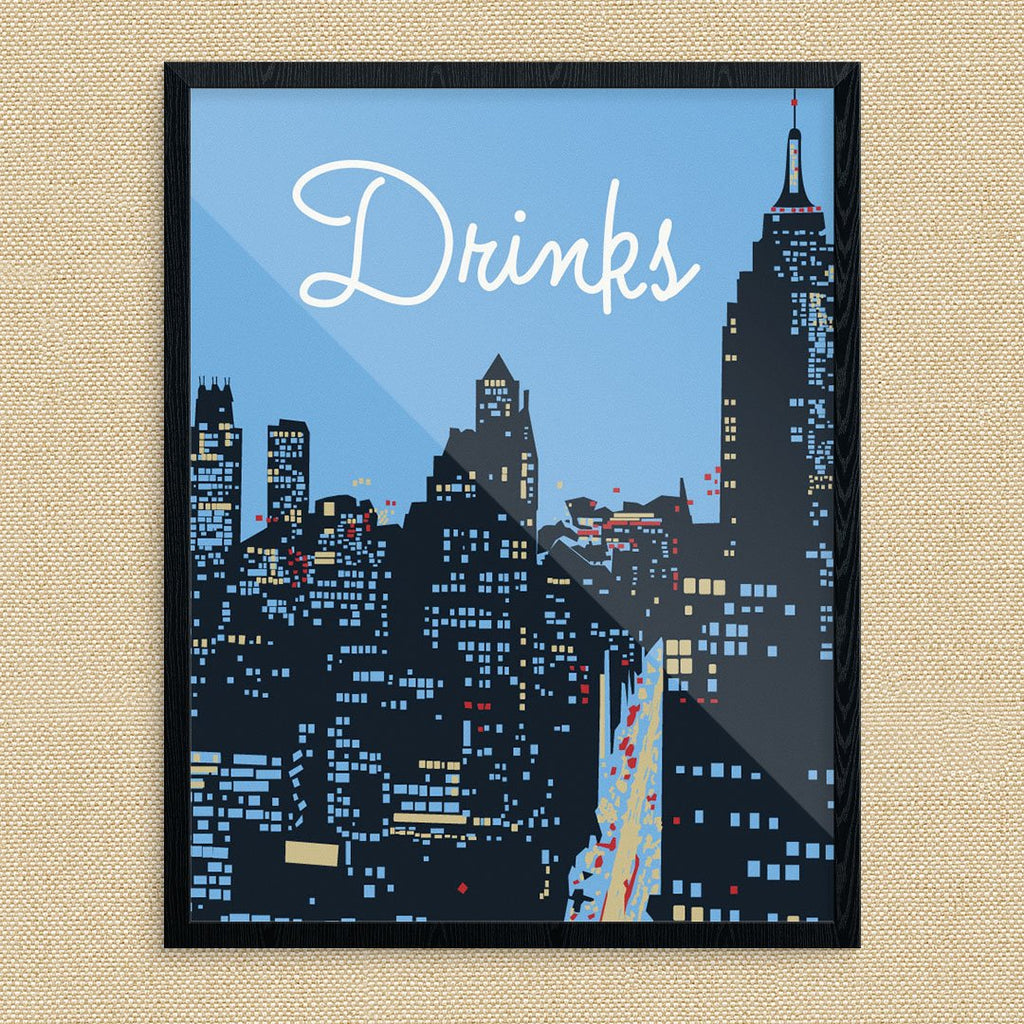 New York City Cocktail Hour Drinks Print