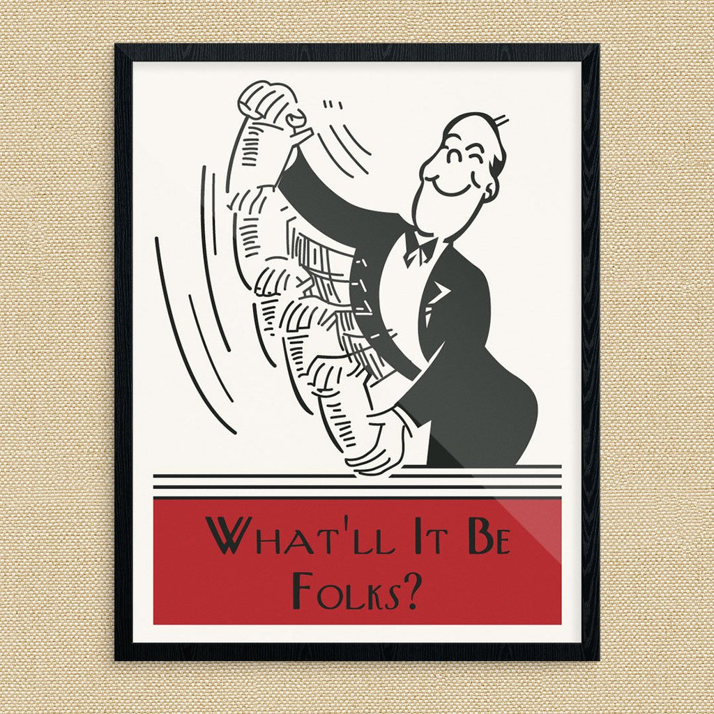 What'll It Be Folks Cocktail Shaking Bartender Vintage Cocktail Style Print