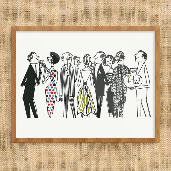 Fashionable Cocktail Party Crowd Print