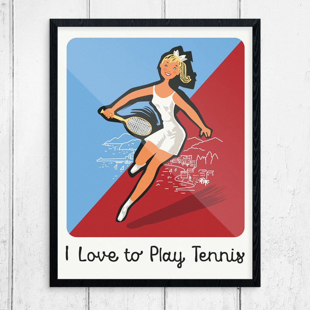 I Love to Play Tennis Vintage Style Tennis Print