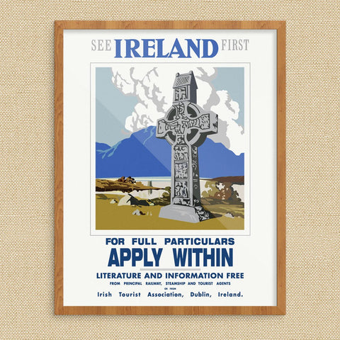 See Ireland First Apply Within Vintage Travel Poster Print
