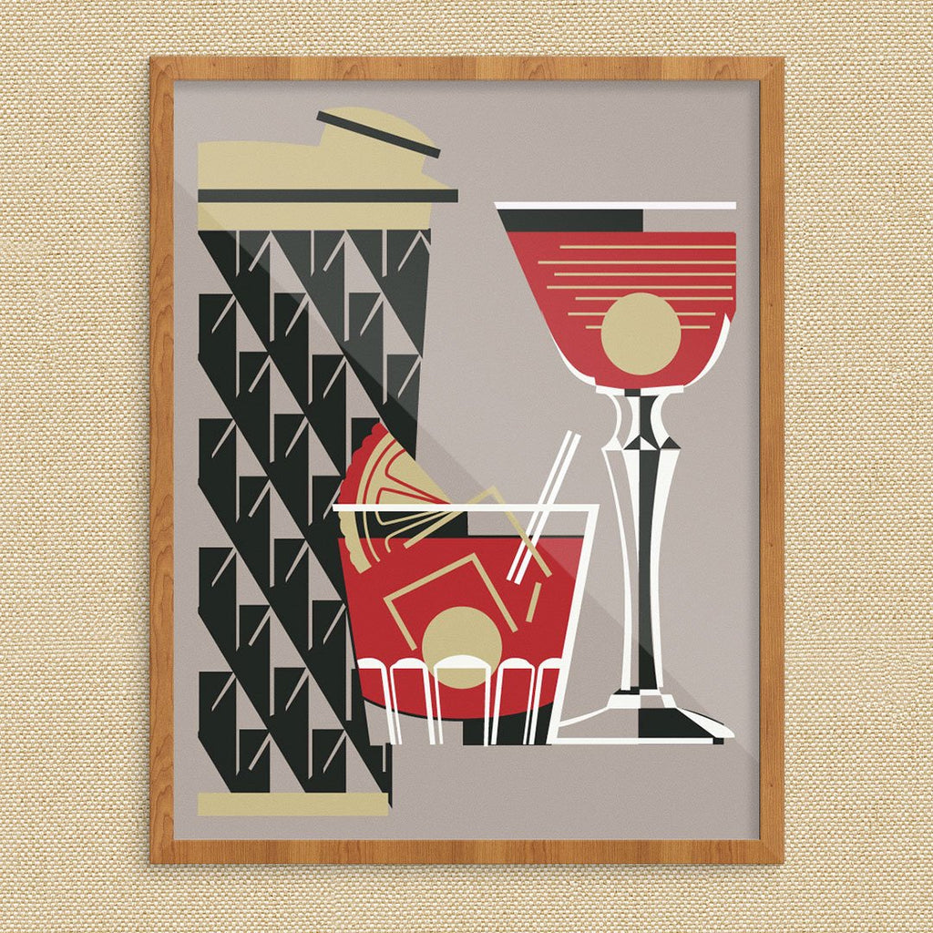 Rocks Glass, Martini and Cocktail Vintage Style Print