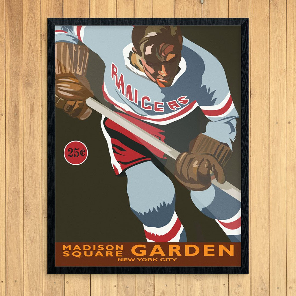 Vintage New York Rangers Hockey Player at Madison Square Garden Print