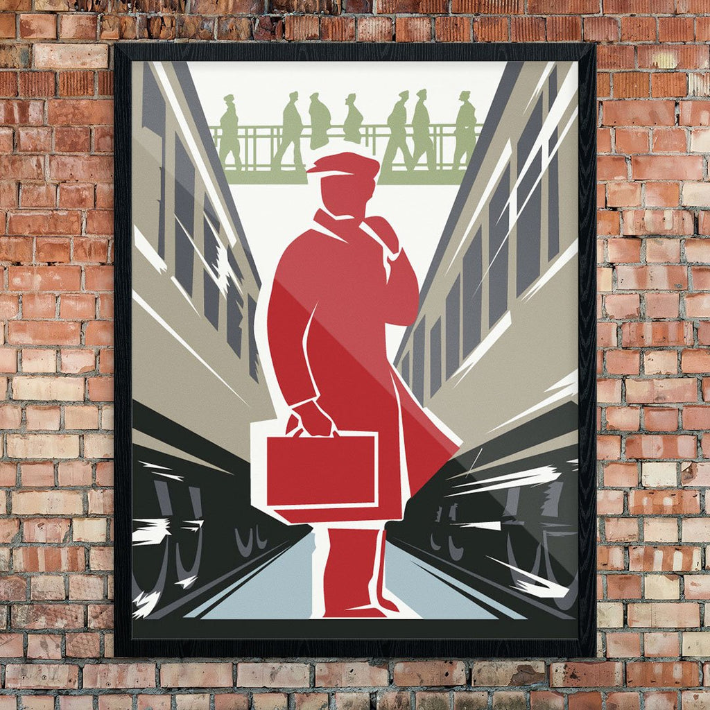 Commuter Amid the Rushing Trains Print