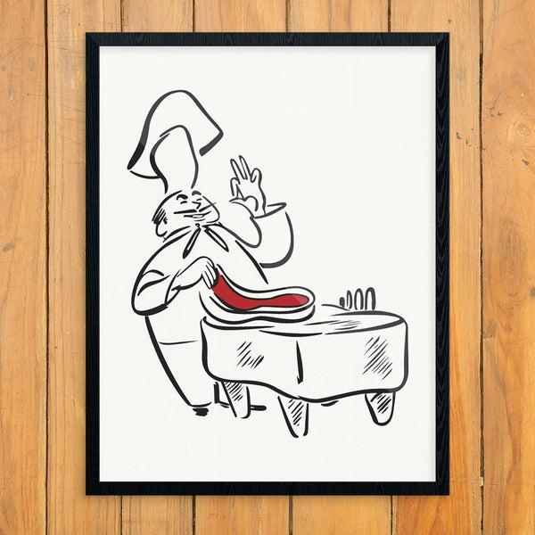 Abbondanza Chef Preparing a Steak Vintage Menu Art PrintPrint