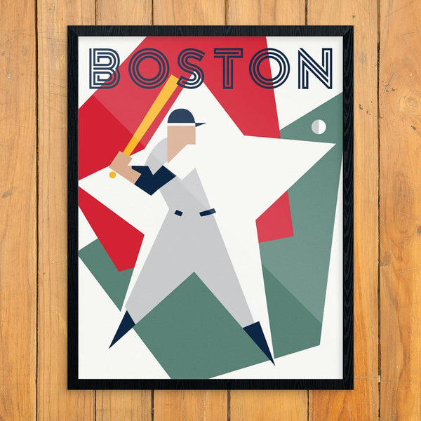 Abstract Boston Baseball Pitcher Print