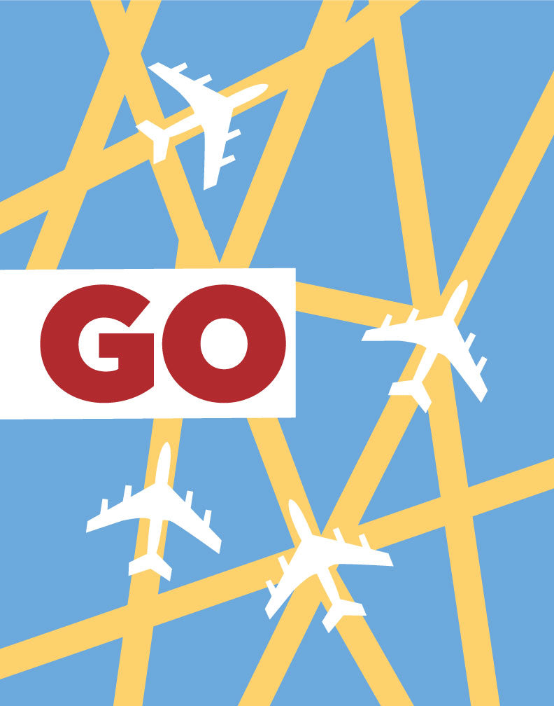 Go Airplane Grid Travel Poster