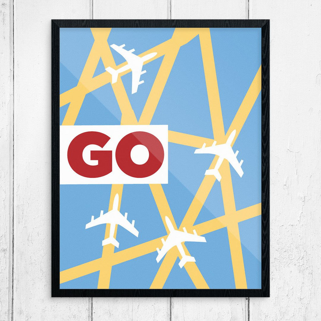 Go Airplace Travel Grid Print