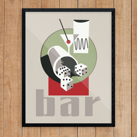 Martini & Dice Bar Scene Print