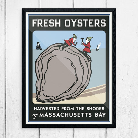 Fresh Oysters Harvested from the Shores of Massachusetts Bay Print