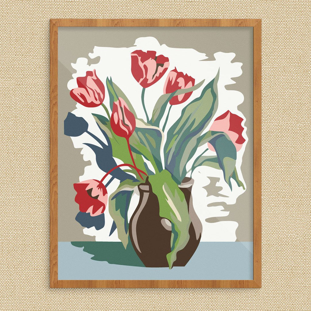 Paint By Number Style Tulips Print
