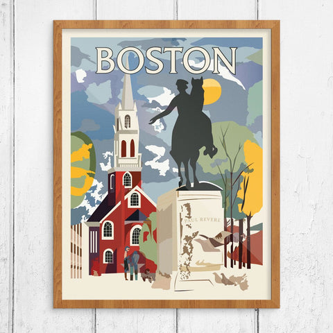 Boston Paul Revere Monument & Old North Church Print