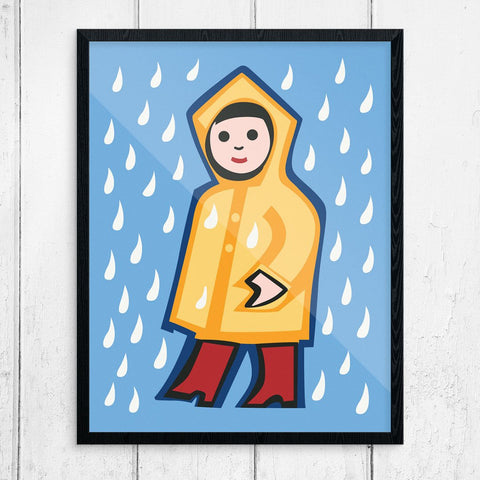 Little Girl in Yellow Raincoat Print