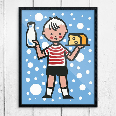 Little Boy with Milk & Cheese Print