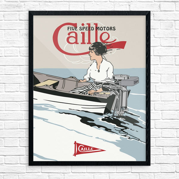 Caille 5 Speed Motors Motorboat Print