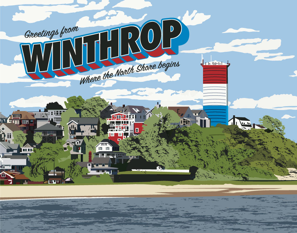 Greetings from Winthrop, MA Magnet & Greeting Card