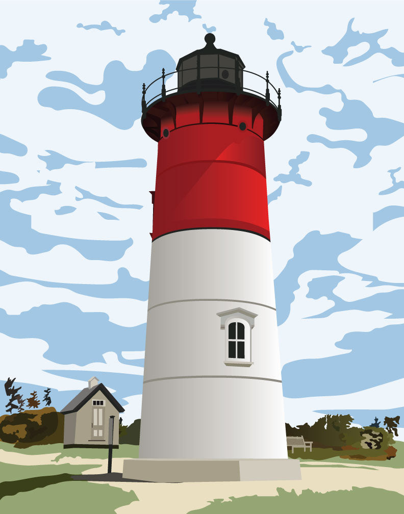 Nauset Light Cape Cod Magnet & Greeting Card