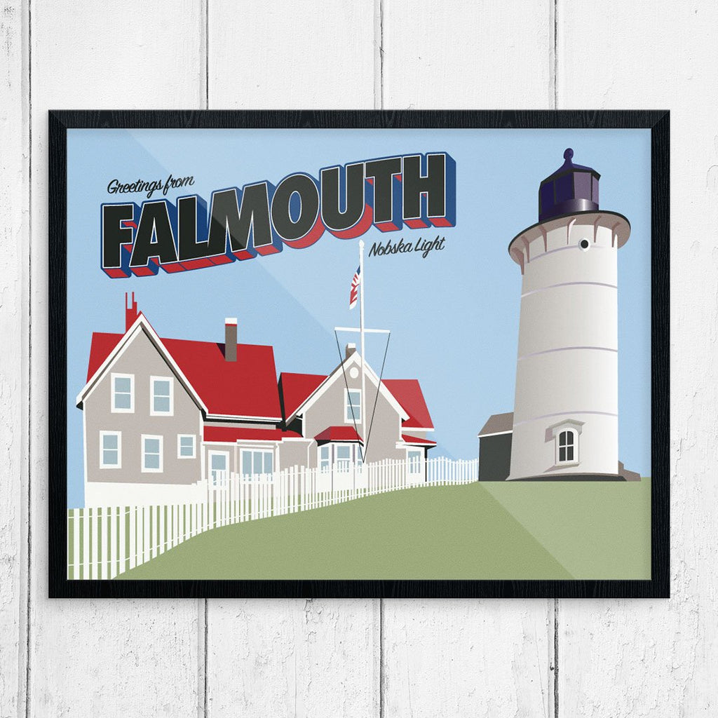 Greetings from Falmouth Nobska Light Print