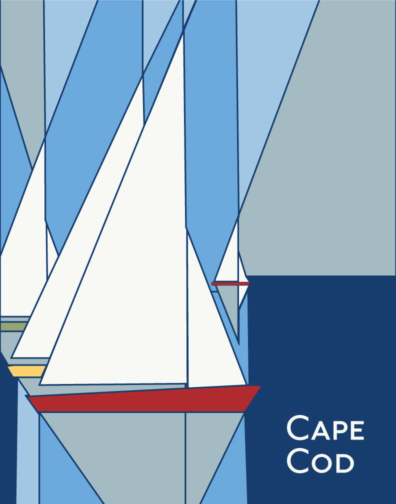 Cape Cod Geometric Sailboats Magnet & Greeting Card