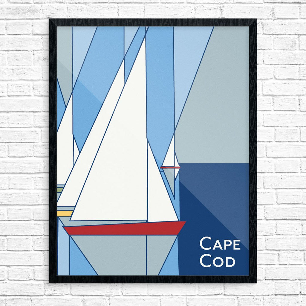 Cape Cod Geometric Sailboats 11 x 14 Print