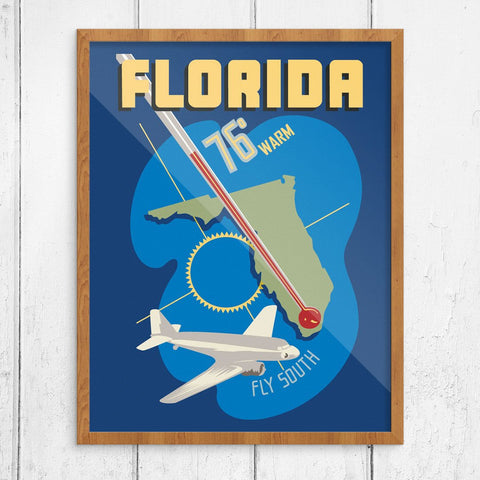Fly South to Warm Florida Travel Poster