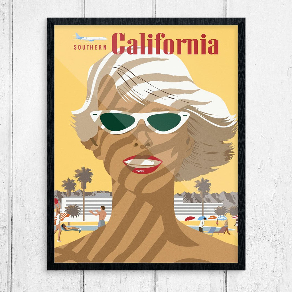 Sunny Southern California Sunbather-Travel Poster
