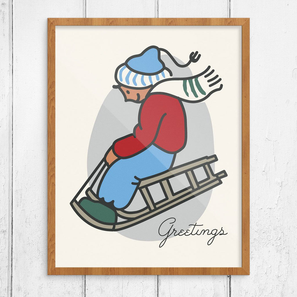 Greetings from the Sledding Boy Print