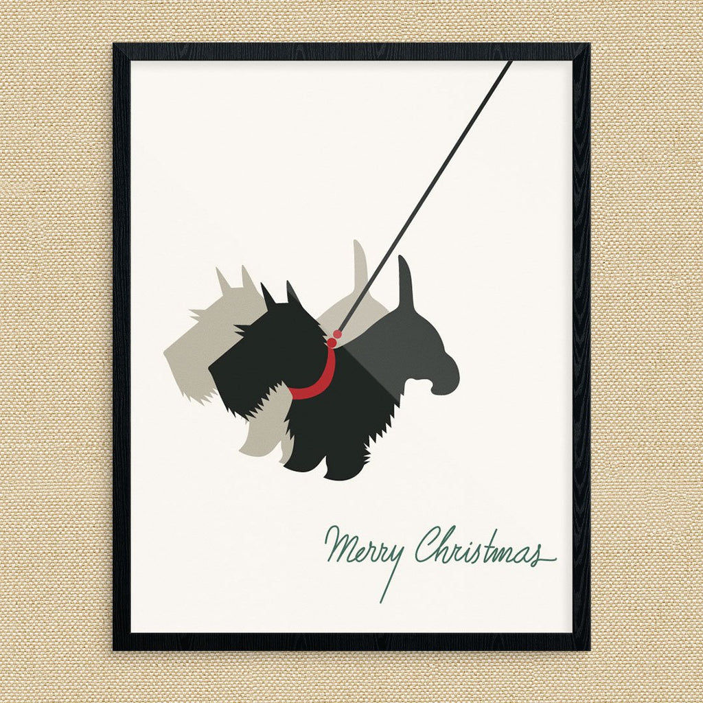 Merry Christmas Scottie & Shadow Vintage Print