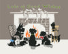 Lots of Good Wishes from the Fireplace Dogs Vintage Print