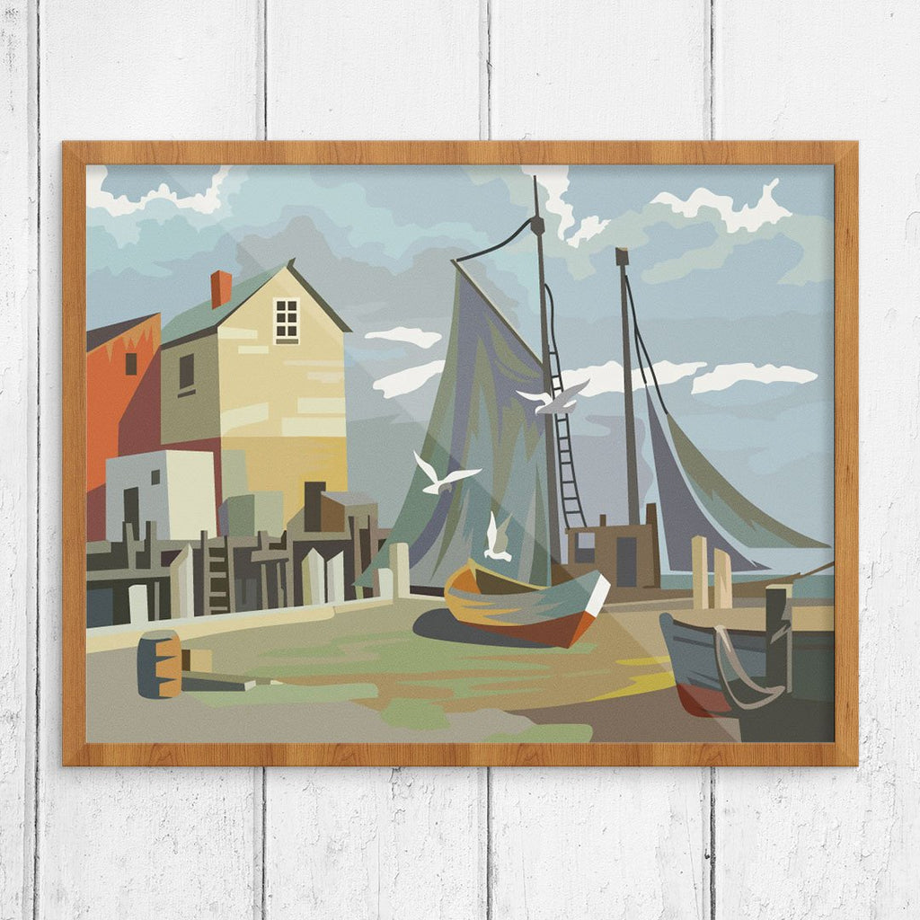 Pain by Number Style Harbor Dock Scene Finished Print