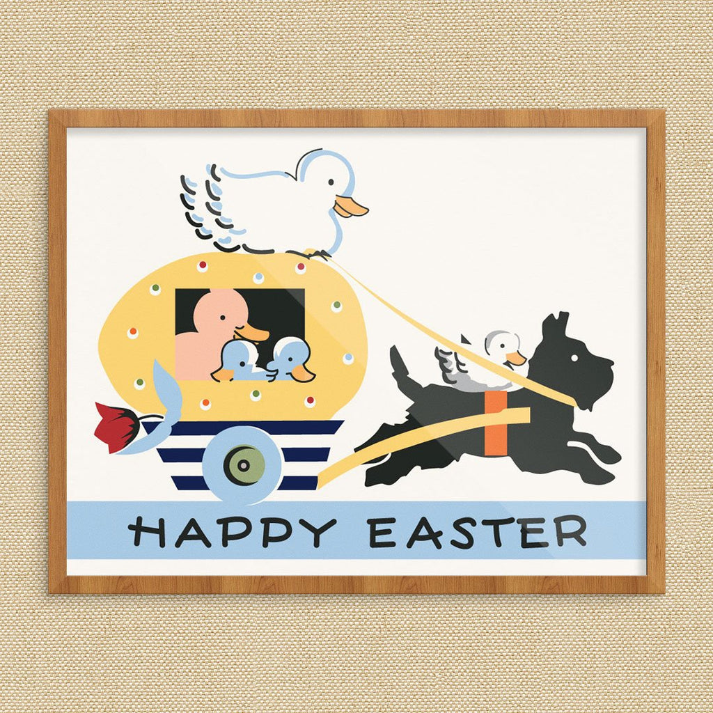 Happy Easter Ducks Riding in an Egg Carriage Vintage Print