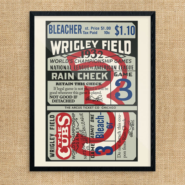 Wrigley Field 1932 World Championship Game Ticket Print