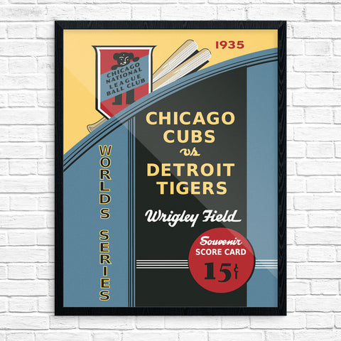 Chicago Cubs Vs Detroit Tigers 1935 World Series Wrigley Field Scorecard Print