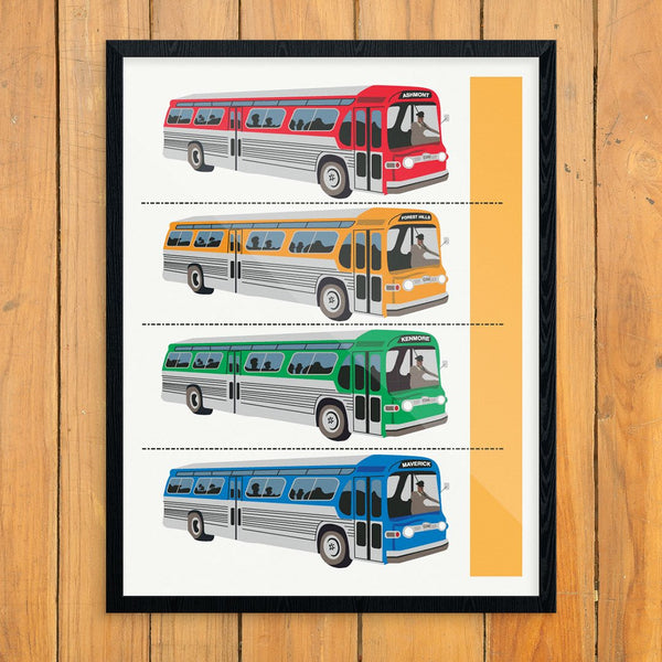 General Motors 1958 Public Transportation Bus Line Up Print