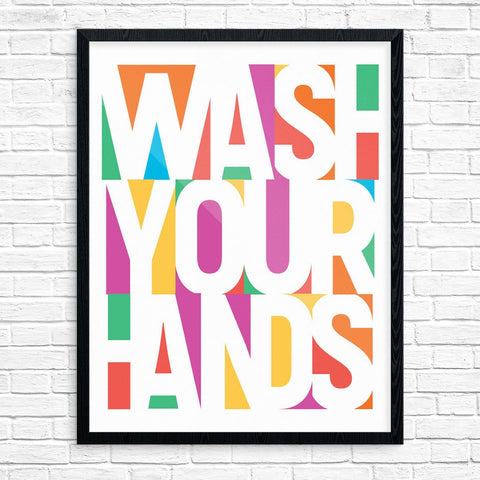 Wash Your Hands Colorful Blocks Print