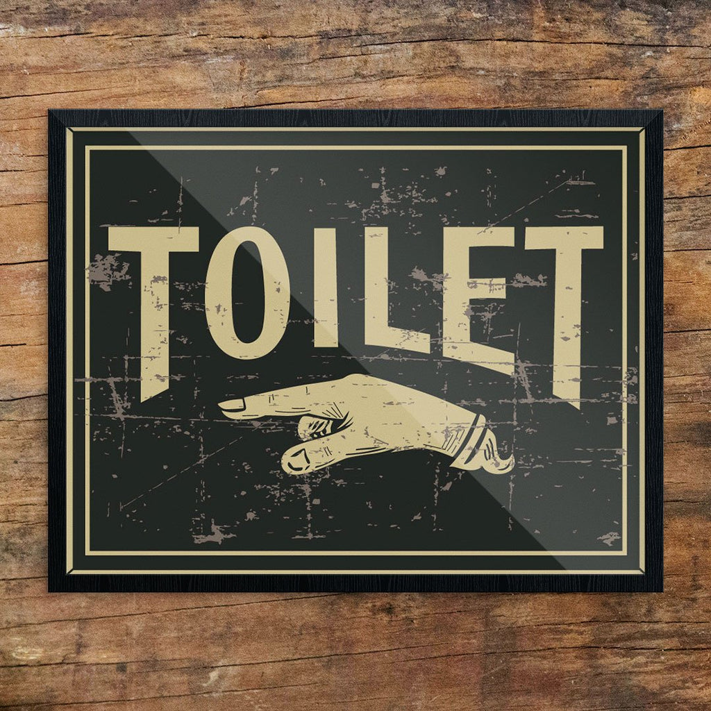 Toilet This Way Vintage Sign