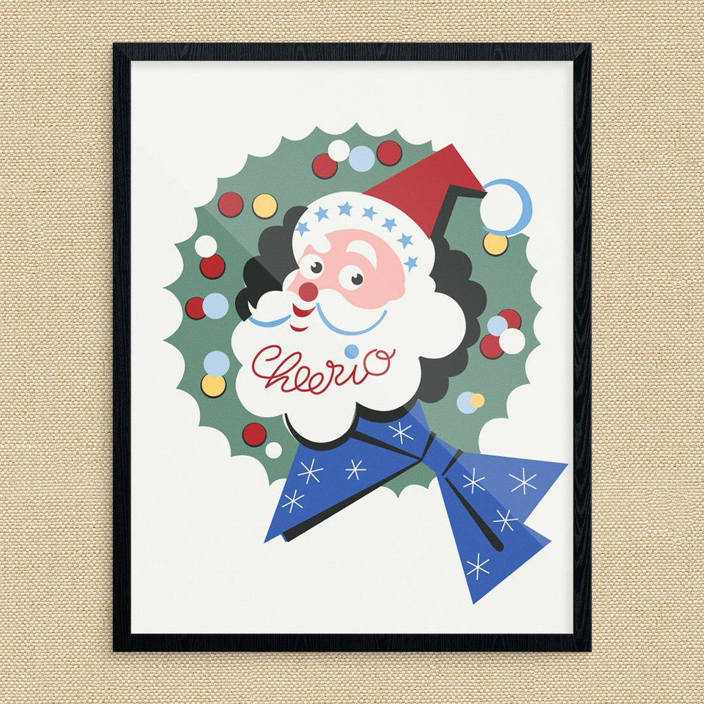 Cheerio Santa & Wreath Christmas Card Print